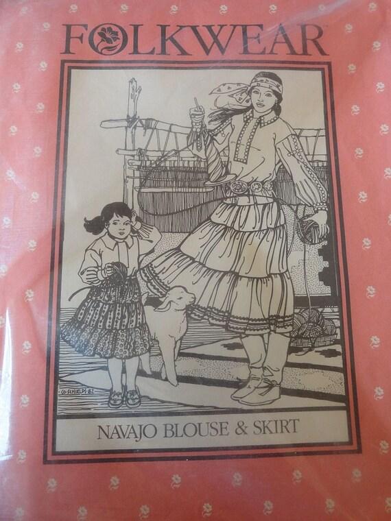 Vintage 80s FOLKWEAR 120 Navajo Blouse and Skirt Pattern Women and Girls