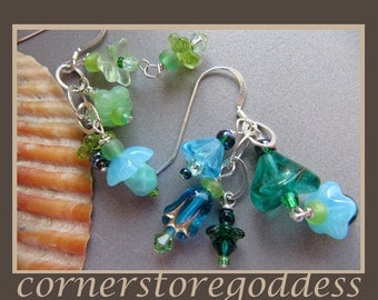 Undersea Garden Asymmetrical Delicate Balance Charm Earrings by Cornerstoregoddess
