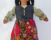Pretty African American Doll - Cloth Doll by Joelle's Dolls