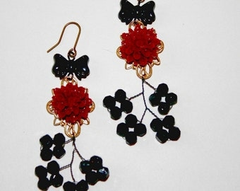 Glammy Burgundy Rose Earrings