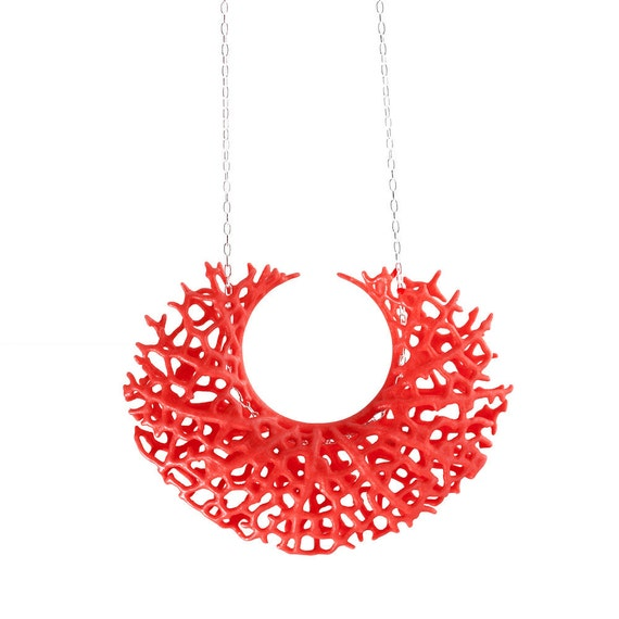 SALE 50% off Vessel Pendant - red 3d-printed nylon and sterling silver necklace, modern, abstract, nature, science