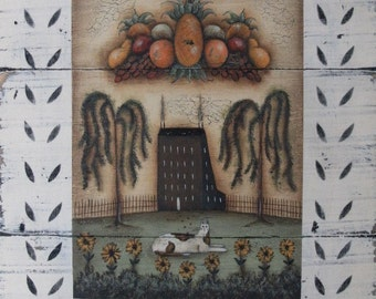 THANKS - a rustic folk art bountiful harvest, cat signed print by Donna Atkins