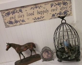 and they lived happily ever after. Romantic Fairy Tale rustic quotation art print, Wedding, Engagement. Donna Atkins, Blue Cream Toile look