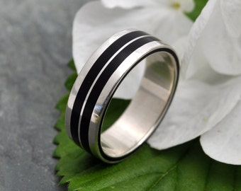 Size 10 READY TO SHIP White Gold Lados Linea Coyol Wood Ring - ecofriendly wood wedding band