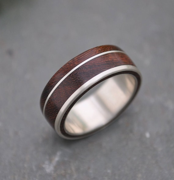 Un Lado Asi Wood Ring - wood wedding band with recycled sterling silver, mens wood wedding ring, women's wood wedding band, wooden ring