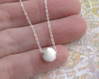 Tiny Sterling Silver Moon Necklace Hollow Formed Puff Coin Charm Chain DJStrang Minimalist