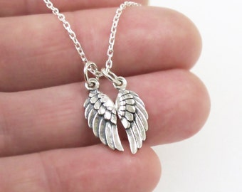 Angel Bird Wing Charm Necklace  Tiny Sterling Silver Guardian Pendant DJStrang Protection Boho Flight Safe New Beginnings Sympathy