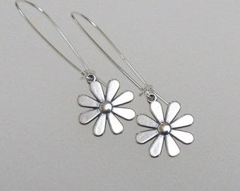 Daisy Flower Earrings Sterling Silver Charm Long Drop Dangle Elongated Hoop DJStrang Boho Cottage Chic