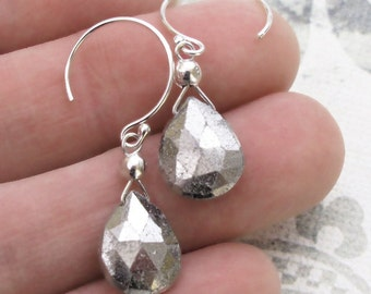 White Pyrite Earrings Sterling Silver Hoop DJStrang Drop Dangle Silvery Briolette Boho Chic