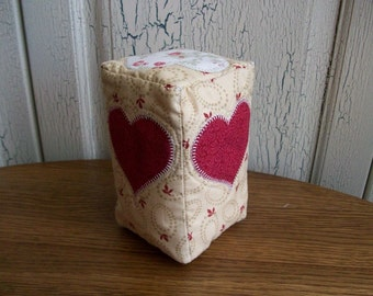Quilted Heart Pincushion, Beige, Rose Red, Scissor Pocket, sewing, organizer, hearts, sewing accessory, Valentines Day