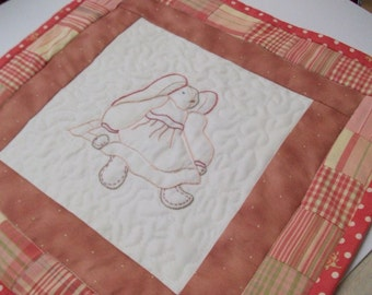 Bunny Little Quilt, rose pink, hand embroidery, doll quilt, wallhanging, baby girl, little girl home decor decoration, nursery, baby's room