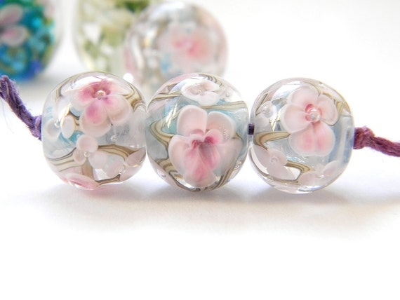 Pale pink and blue encased floral - Handmade lampwork glass bead - Cherry Blossom - MADE TO ORDER