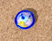 Lampwork Cabochon,Blue Bird, Pink Background, Handmade SRA LETEAM Glassymom DESTASH