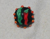 Lampwork Bead Lentil , Chili Focal Bead  Black Orange Red Green  Handmade SRA Glassymom