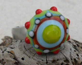 Lampwork  Ring Topper Brights Orange-Green-Red-Blue, Handmade SRA LETEAM Fits 2.5mm Glassymom