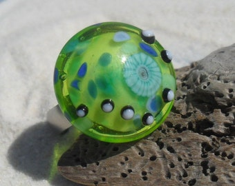 Lampwork  Ring Topper Lime, Handmade Fits 2.5mm Changeable European Jewelry  SRA LETEAM Glassymom