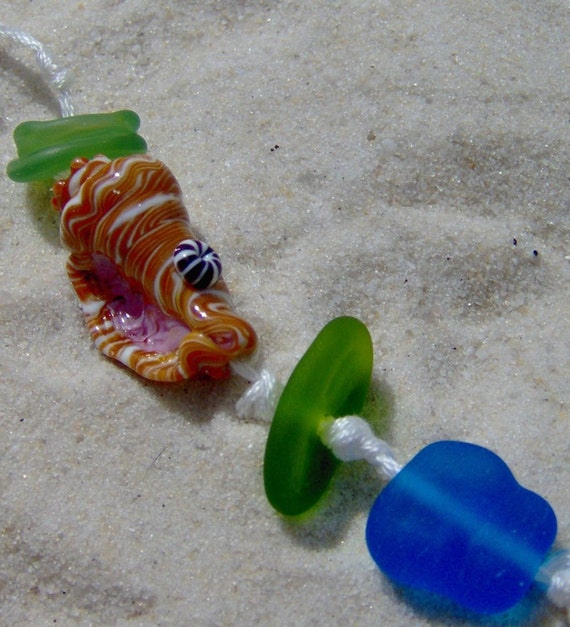 Lampwork Bead Set, By the Sea- Shell and Beach Glass Handmade SRA LETEAM Glassymom DESTASH