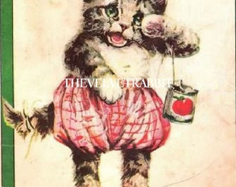 Quilt blocks*Free ship*CAT, cats, kitten, fabric blocks,ONE 5x7 inch, great for decoupage, collage,sewing,totes,sachets and so much more