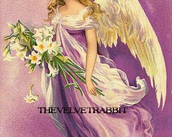Quilt art fabric block*Easter angel 8x10 inches*Gorgeous*Pillows, sachets, quilts,decoupage,collage.Art*Frame