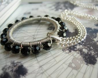 Beaded Pendant, Beaded Necklace, Black Pendant Necklace, Glass Bead Pendant, Beaded Jewelry, Wire Wrapped Pendant, Black Necklace