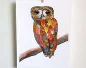 Watercolor Owl Painting - Colorful Owl - art print, archival print, reproduction