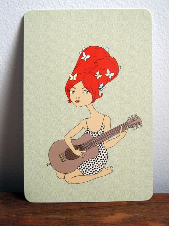 Guitar Girl Art Postcard