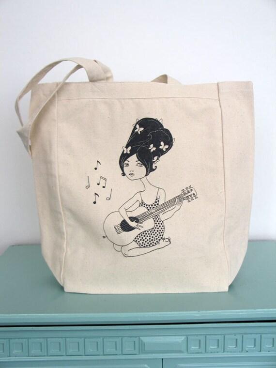 Guitar Girl Canvas Tote Bag