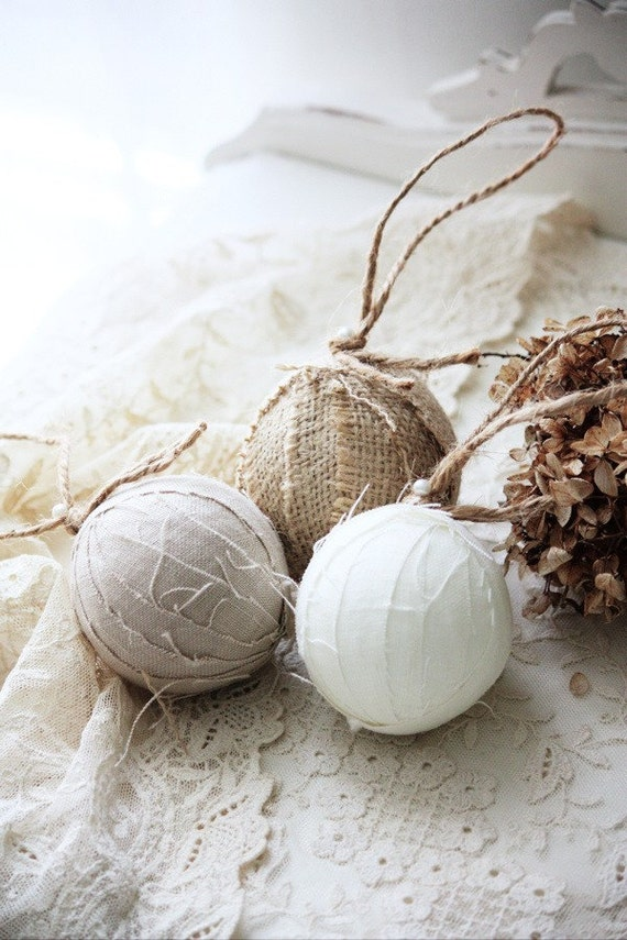 Items similar to rag ball trio christmas tree ornaments in