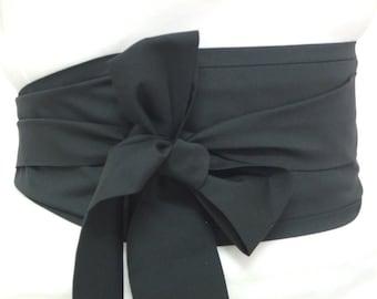Black Obi Belt / Sash Oriental Japanese Geisha style by loobyloucrafts ... Kimono Yukata belt wrap ... Standard size