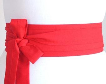 Red cotton fabric Oriental geisha eastern style Obi waist belt sash ribbon tie