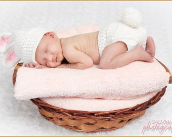 newborn baby bunny hat photography prop bunny hat & pom pom diaper cover set
