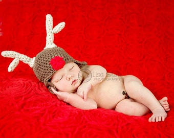 baby Christmas hat rudolf the red nose reindeer newborn photography prop