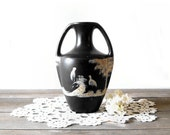 Antique Brentleigh Ware Black Sponge Vase, Exotic Asian Birds, Art Deco Pottery