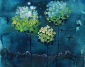 Four Moons - Art Print magnolia pic trees night deep blue watercolor moonrise picture landscape wall painting gift fireworks Oladesign 5x7