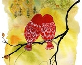 Look Deer - Watercolor Art Giclee Print Romance Lovebirds Deer Owls Valentines Lovers Painting Available in Paper and Canvas by Olga Cuttell