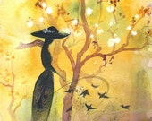 Gift of Peace - Watercolor Art Print Pigeons Style Dress Yellow Cherry Blossoms Silhouette Hat Available in Paper and Canvas by Olga Cuttell