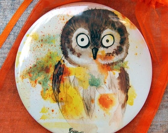 Owl - Pocket Mirror adorable cute speckled big eyes barn owl purse bag personal watercolor painting Canada Vancouver Oladesign