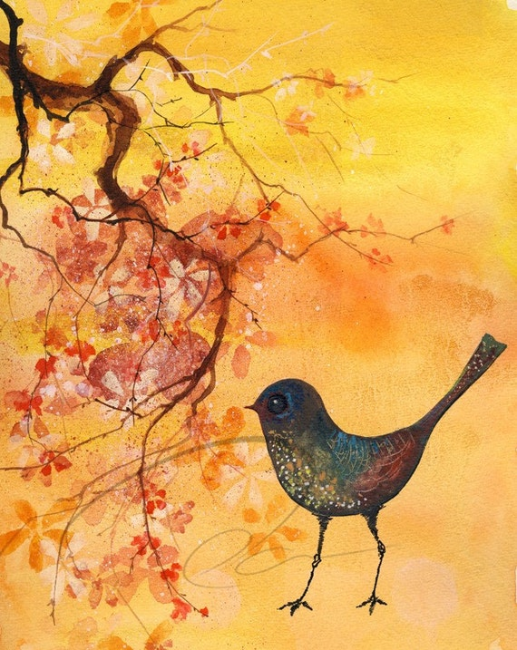 Dab of Inspiration - Watercolor Art Giclee Print Robin Flower Blossoms Yellow Mockingbird Available in Paper and Canvas by Olga Cuttell
