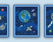 Set of three Space, Planet, Outer Space, Shuttle Nursery Kids Art/Decor