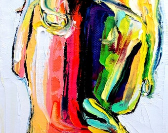 Femme 192 - 30x35 abstract nude signed print reproduction by Aja ebsq