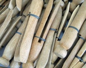 12 Vintage Wire Wrapped Round Wooden Clothespins
