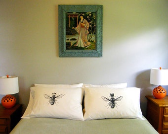 His and Hers King & Queen Bee Standard Pillow Case Set,  Gift for Couples, Anniversary Gift, Hand Printed Cotton,300TC