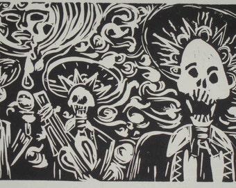 Singing Skeleton Mariachi Band Under Crying Full Moon Linocut Print Hand Pulled Original by Candace Byington