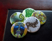 CLEARANCE - Fractal Button Assortment - Spring Greens (set of 5)