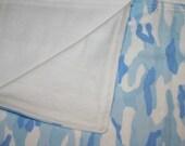 Large Baby Blue Camo Swaddling Blanket