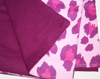 Large Pink and Purple Cheetah Leopard Print Flannel Swadding Baby Blanket 46x36 SIZE