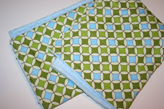 Blue and Green - Circles and Diamonds - Modern Baby Blanket - Minky Baby Blanket - Baby Boy