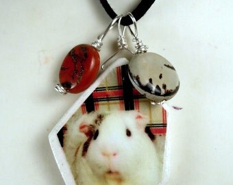 Jasper Gemstone GUINEA PIG Charm Necklace - White Porcelain Photo Pendant with stone bead accents and vegan friendly black faux suede cord