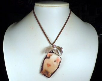 Guinea Pig Pendant with Brown Faux Suede Necklace + Wire Wrapped Polymer Clay Fluorite & Pressed Glass