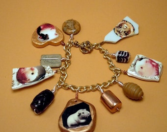 Gold Pottery Shard GUINEA PIG Charm Bracelet - OOAK - Sculptural Photo Charms - Jasper - Blackstone - Porcelain - Glass - Nautical Toggle